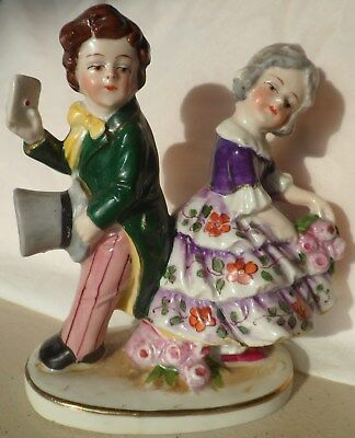 Immaculate Antique German Figurine Exquistely Hand-Painted. Young Couple In Love