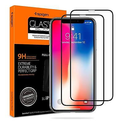 NEW Spigen iPhone XS  Screen Protector 2 PACK Tempered Glass Edge to Edge