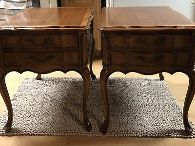 Vintage Pair Antique French Provincial Nightstand End Table Wood