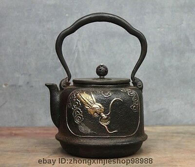 Archaic Japanese Iron Silver Gilt Dragon God King Flagon Kettle Wine Tea Pot