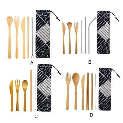 5xJapanese Wooden Cutlery Bamboo Straw Set With Cloth Reusable Travel Dinnerware