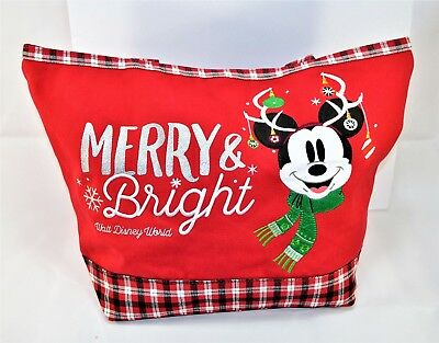 Disney Exclusive 2018 Christmas Holiday Merry & Bright Mickey Large Tote NEW