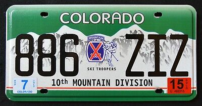 """COLORADO """" SKI TROOPERS 10th MOUNTAIN DIVISION """" CO MILITARY License Plate"""
