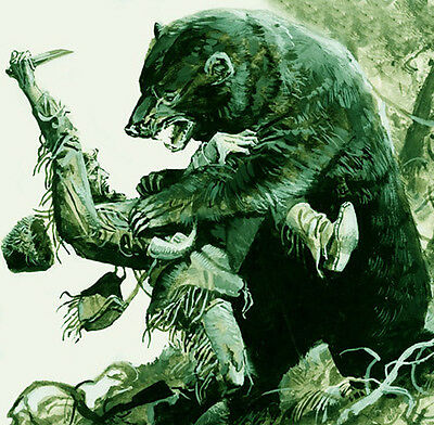 Hugh Glass Bear Attack Oil Painting Wild Life Animal Travel Modern Art Handcraft