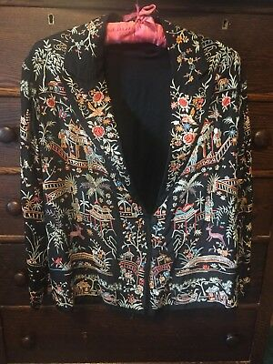 1920s Antique Vintage Embroidered Chinese Silk Coat Jacket Duster Blazer *RARE!*