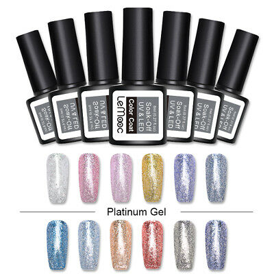 LEMOOC 8ml Platinum UV Gel Polish Glitter Shimmer Soak Off Nail Art Gel Varnish