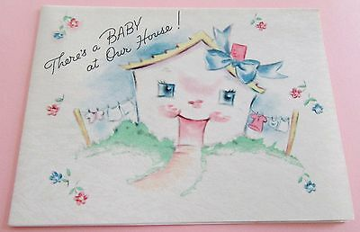 Unused Vintage Baby Card Little Announcement Anthropomorphic House w Bow