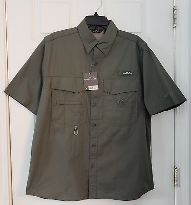 NWT Eddie Bauer Men's M Cotton Fishing Camp Shirt Embroidered NORFOLK SOUTHERN