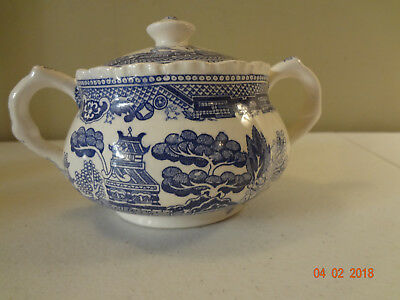 Vintage Blue and White Asian Design Sugar Bowl with Lid Japan