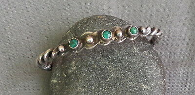 Vintage Fred Harvey Era Silver Green Snake Eye Turquoise Row Cuff Bracelet