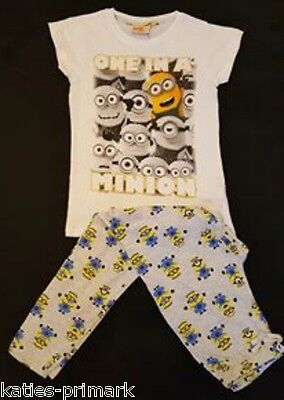 Primark Boys Girls Kids Minions Cotton Pyjamas Despicable Me Age 7 - 13 Unisex