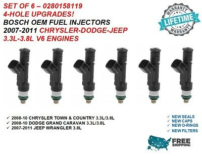 6X Upgraded 12 Hole Fuel Injectors For Dodge Chrysler Plymouth Caravan 3.3L 3.8L