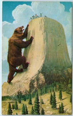 Wyoming WY DEVIL'S TOWER Legend NATIONAL MONUMENT Giant Grizzly Bear postcard