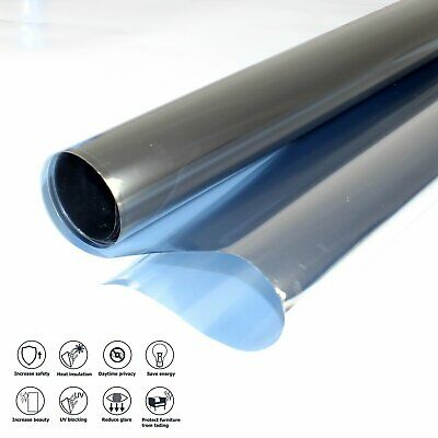 "36"" Window Tint One Way Mirror Film Heat Reflective Home Commercial Solar Office"