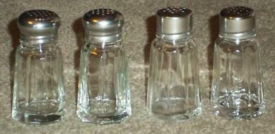2 Sets Of Vintage Clear Glass Salt And Pepper Shakers With Stainless Steel Lids