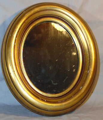 """Vintage Small Oval Wooden Mirror Gold Tone Color 9-3/8"""" x 7"""" Estate Fresh"""
