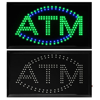 """22"""" X 13"""" Bright ATM LED Neon Light Animated Motion with ON/OFF Store Shop Sign"""