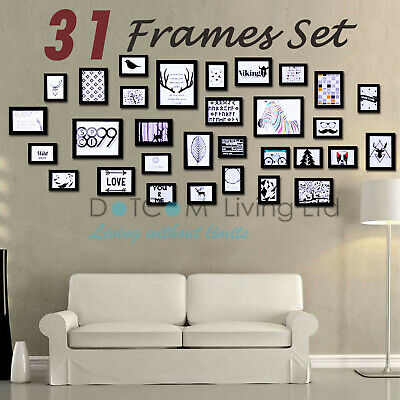 31 PCS Multi Picture Photo Frames Wall Set 195cm x 84cm Home Deco Collage Black