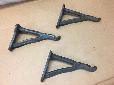 Set of 3 large matching ornate antique cast iron hooks rustic home decor