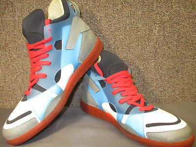 896b9f46a09754 Maison Martin Margiela ColorBlock High Top Rubber Panel Blue Red NEO  SNEAKERS 45