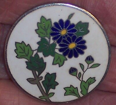 Vintage Sterling Silver Japanese Cloisonne Button Flowers