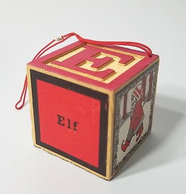 Vintage Elf Wooden Letter Block 'E' Christmas Tree Ornament Red Midwest