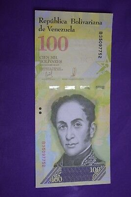 Venezuela 100000 Bolivares Banknote. UNC notes 2017 South America