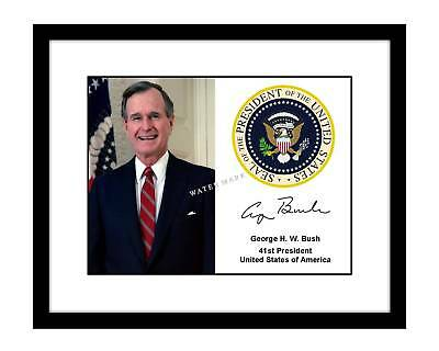 George H. W. Bush 8x10 Signed Photo Print Presidential Seal Autograph