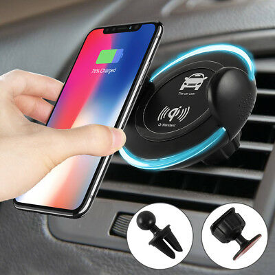 Fast Qi Wireless Car Charger Air Vent Mount Holder for Samsung S9 Plus iPhone X