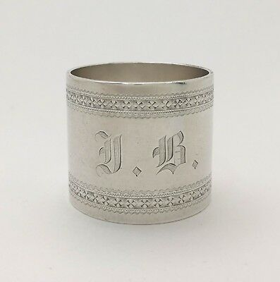 """Fine Aesthetic Engraved Sterling Silver Napkin Ring """"FB~FROM GRANDMA 1877"""""""