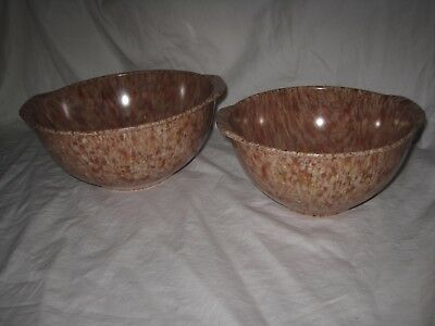 Set of 2 Vintage Nesting Melmac Splatter Confetti Mixing Bowls with Handles