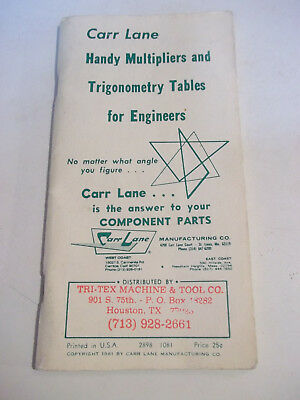 Carr Lane Handy Multipliers and Trigonometry Tables for Engineers 1981