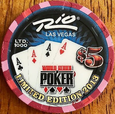 $5 Rio Casino Chip - Las Vegas - WSOP 2013 - Quad Aces - Poker - RARE - LTD