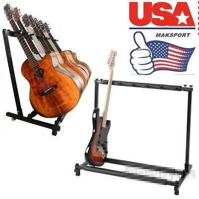 US Music Guitar Stand 5 Rack Folding Holder Guitars Organizer Acoustic Bass US