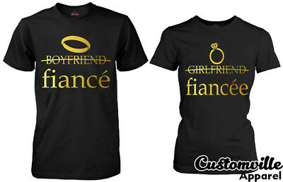 13eee98e Fiance Couples Matching shirts Proposal shirts engagement gift idea Gold  Rings