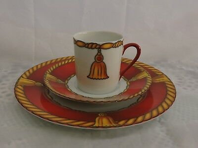 """Rare Laure Japy Limoges France """"Ali Baba"""" Rust  Demitasse Cup, Saucer & Plate"""