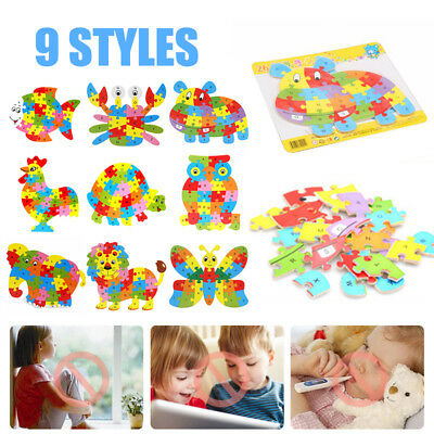 Kids Baby Wooden Animal Puzzle Numbers Alphabet Block Learning Educational Toys