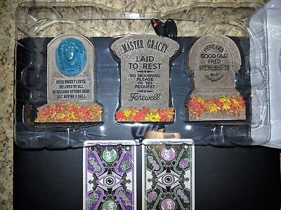 Set of 3 Disney Parks Haunted Mansion Tombstones with Original Box Disneyland 4""