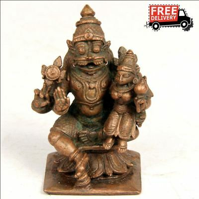 Old Vintage Antique Copper Brass Narsimha Statue 8023 Collectible Edh