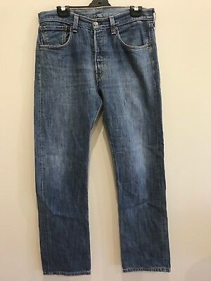 Vintage Levi 501 Jeans Blue Straight Button Fly Red Tab W 33 L 34