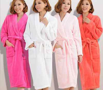 Luxury Womens Mens Thermal Coral Fleece Dressing Gowns Super soft Bath Robes 001