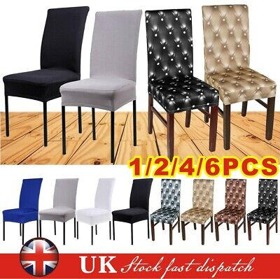 Stretchable Removable Slipcover Dining Chair Seat Cover Spandex Lycra 2/4/6 Pcs