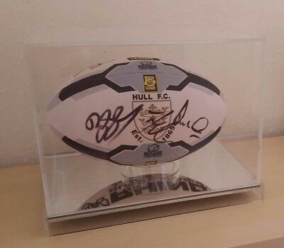 Rugby Ball Display Case Full Size 5 Ball Clear Mirror Acrylic Perspex Plastic