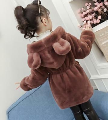 Kids Girls Fashion Faux Fur Cute Ears Hooded Winter Warm Coat Jacket Outwear XUN