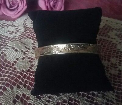 Vintage Etched Hinged Floral Bangle~ Stamped ~ Gold Plated S/silver