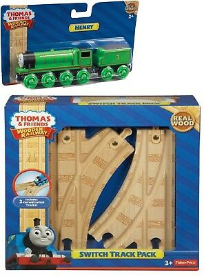 Thomas & Friends Wooden Railway Henry Train & Switch Track Pack Brand New In Box