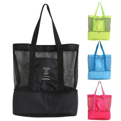 Storage Picnic Bag Double Layer Insulated Thermal Cooler Beach Tote Shoulder Bag