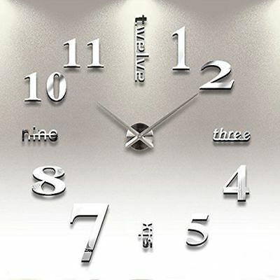 Stick On Wall Clock DIY Large Modern Design Decal 3D Stickers GYM Cafe Office