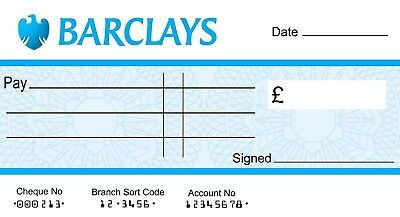 LARGE JUMBO BARCLAYS BLANK CHEQUE  (3 SIZES)  for Charity- Presentation