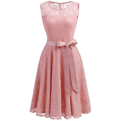 Women's Vintage Style Floral Lace Overlay Partially Lined Party Bridesmaid Dress